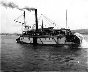 Steamboats of Grays Harbor and Chehalis and Hoquiam Rivers - Image: Harbor Belle (sternwheeler) ca 1902 (from stern)