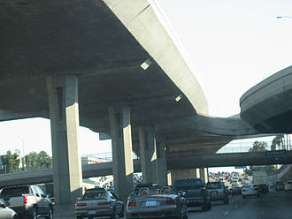 Interstate 110 and State Route 110 (California) - Carpool lanes on the upper deck of the Harbor Freeway, south of Adams Boulevard