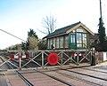 Harling Road station - crossing gates and signal box - geograph.org.uk - 1702936.jpg