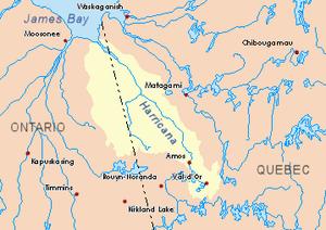 Harricana River - Image: Harricana map