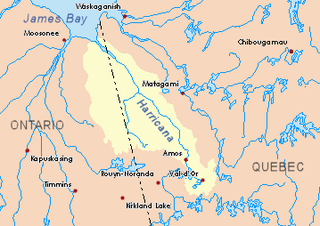 Tangente River tributary of the Wawagosic River, flowing into Eeyou Istchee James Bay, Northern Quebec, Canada