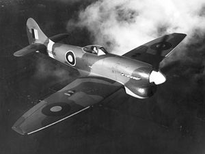 Hawker Tempest - A Tempest V, NV696, during a test flight, November 1944