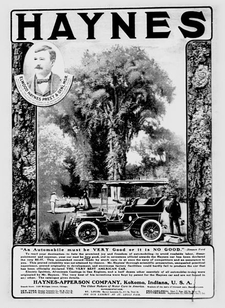 1904 newspaper advertisement for Haynes-Apperson Haynes-Apperson Ad.jpg