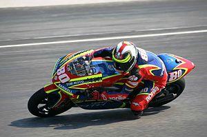 Héctor Barberá - Barberá riding an Aprilia at the 2007 Italian Grand Prix.