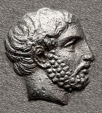 Hecatomnus - Portrait of Hekatomnos, from his coinage, circa 392/1-377/6 BC.
