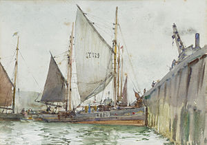 Henry Scott Tuke - A Lowestoft trawler coming alongside the quay.jpg