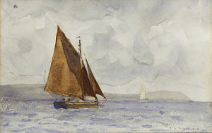 Henry Scott Tuke - A bawley running up the coast.jpg