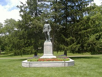 Garfield Park (Indianapolis) - Statue of Henry Ware Lawton near the Garfield Park Conservatory
