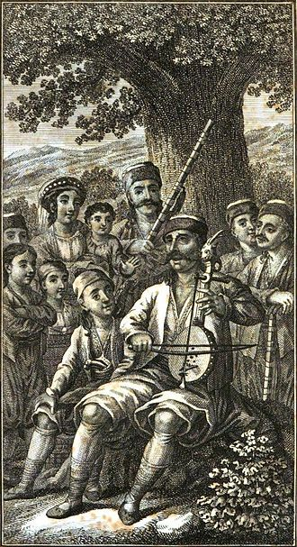 Prince Marko - A Herzegovinian sings with a gusle in an 1823 drawing. Serbian epic poems were often sung,  accompanied by this traditional instrument.