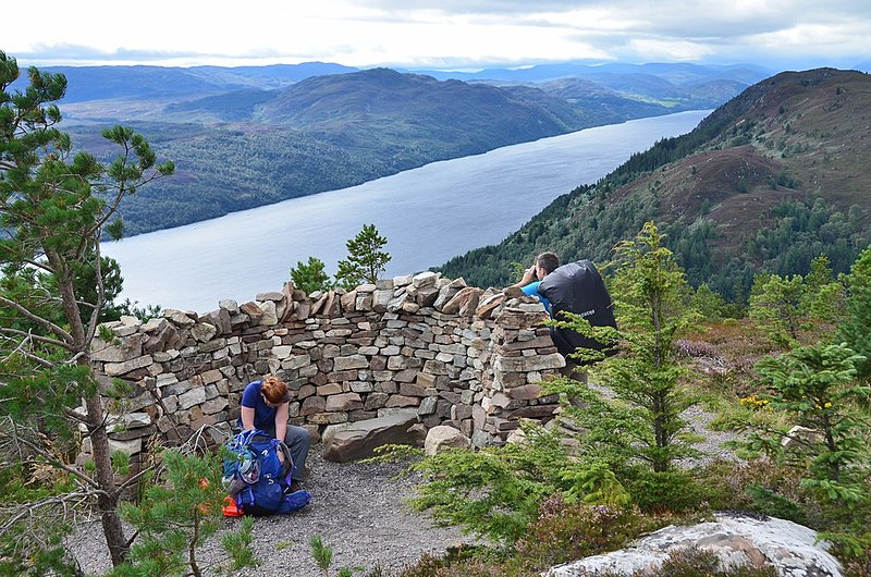High point of the Great Glen Way. The stone shelter marks the highest point, 422m, between Fort William and Inverness. Appropriately enough there is a great view of Loch Ness.