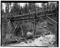 High trestle carrying flume across the river. - Rock Creek Hydroelectric Project, Rock Creek, Baker County, OR HAER OR-121-4.tif