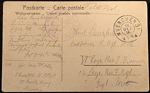 Europeana 1914-1918 - A postcard sent by Adolf Hitler in 1916, digitised at a public roadshow in 2012.