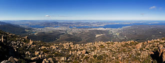 Mount Wellington (Tasmania) - Greater Hobart area from Mount Wellington