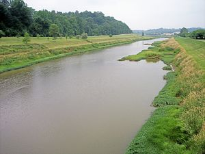 Hocking River - A channelized section of the Hocking River in Athens