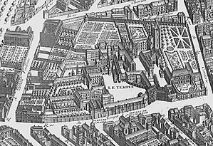 Temple (Paris) - The Temple area in 1734 - detail of the Turgot map of Paris.