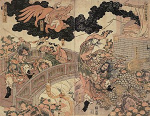 Tamamo-no-Mae - Fleeing fox spirit as Lady Kayō depicted in Hokusai's Sangoku Yōko-den (三国妖狐伝)