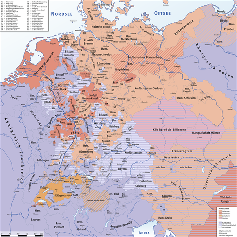 Religion in the Holy Roman Empire on the eve of the Thirty Years' War HolyRomanEmpire 1618.png