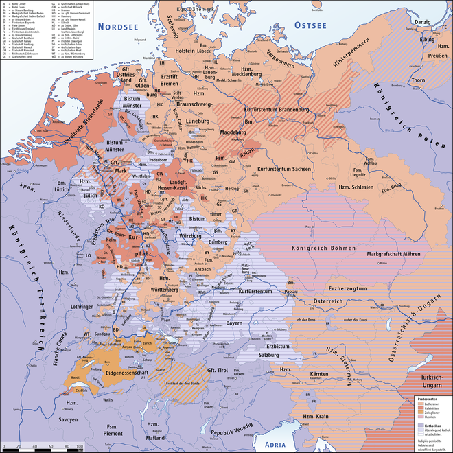 Religious situation in the Holy Roman Empire at the outbreak of the Thirty Years' War in 1618 HolyRomanEmpire 1618.png