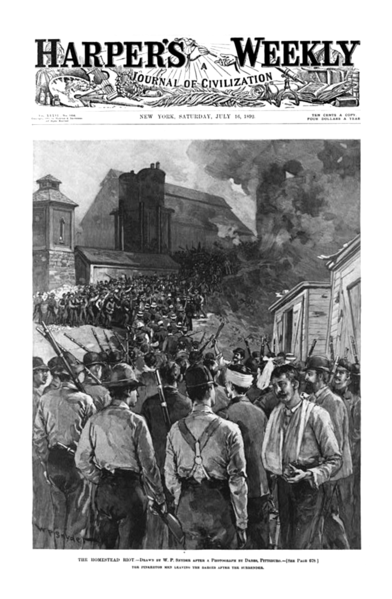 homestead lockout A photograph of strikers on a hill overlooking carnegie steel works in homestead during the lockout, 1892 an excerpt from a contemporary history describing frick's engagement of the pinkertons and their history of violence, 1893.