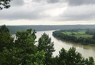 The Ohio River as seen from Fredonia, Indiana. Horseshoe bend in Ohio River.jpg