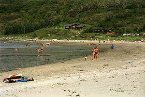 Åfjord - Hosensanden beach on the island Stokkøya, July 1987