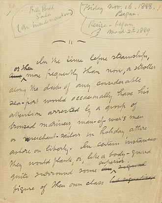 Billy Budd - Opening leaf of the story portion of the Billy Budd manuscript with pencil notations