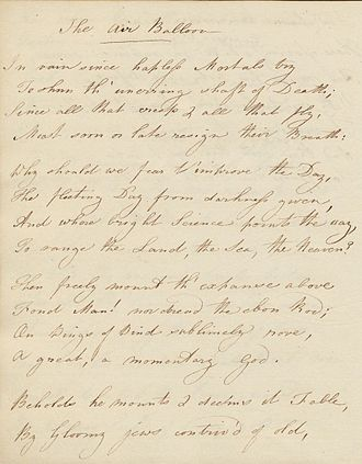 "Robert Merry - Undated manuscript of poem ""The Air Balloon"""