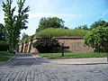 Hradby vyšehradské pevnosti, z ulice Na Pankráci, u Táborské brány.jpg