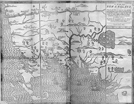 1677 map of New England by William Hubbard showing the location of Plymouth Colony. The map is oriented with west at the top. Hubbard map 1677.JPG