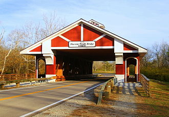 Hueston Woods State Park - Hueston Woods Covered Bridge showing pedestrian access on both sides