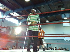 Human Tornado - Human Tornado with the PWG World Championship on crutches after tearing his ACL in 2008.