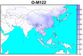 Human Y-chromosome Haplogroup O-M122 spatial distribution.png