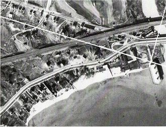 The Queensway – Humber Bay - An aerial photograph from 1936 showing the construction for The Palace Pier. Opened in 1941, the pier served as a dance hall.