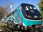 Metrolink's new Hyundai Rotem Cab Car at Virginia Colony in the City of Moorpark