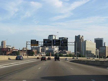 Interstate 59 (co-signed with Interstate 20) approaching Interstate 65 in downtown Birmingham I20I59Birmingham.JPG