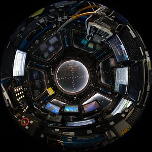 Cupola (ISS module) - Fish-eye lens view of the interior of Cupola with shutters closed