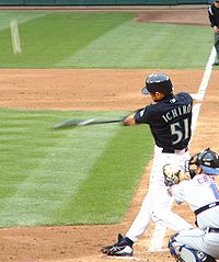 Ichiro connecting for his 5th home run of the 2005 season