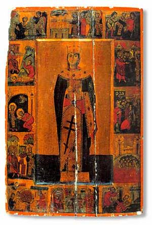 Catherine of Alexandria - Icon of Saint Catherine of Alexandria, with scenes from her martyrdom