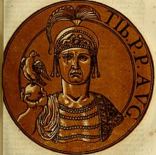 An illustration of Tiberius III, written with bronze and black ink upon paper
