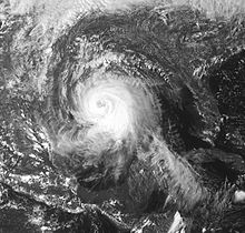 Satellite image of a large tropical cyclone which has a developing eye feature