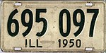 Illinois 1950 license plate - Number 695 097.jpg