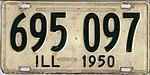 Illinois 1950 license plate - Number 695 097.jpg