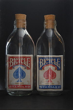 Impossible bottle - Sealed decks of Bicycle Playing Cards inside glass bottles