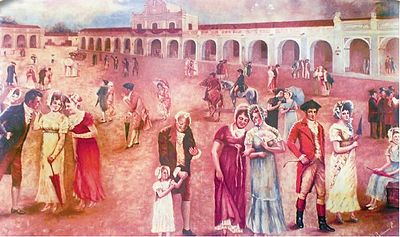 Criollos rejoice upon learning about the declaration of independence on 15 September 1821. Painting by Rafael Beltranena. Independenciacentroamerica2.jpg