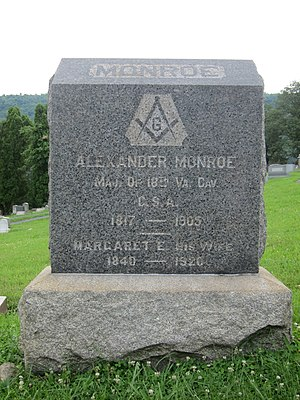 Alexander W. Monroe - Gravestone at the interment site of Alexander W. Monroe and his wife Margaret in Indian Mound Cemetery in Romney, West Virginia