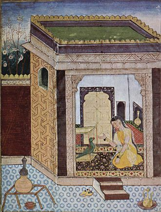 Mughal painting - The Parrot addresses Khojasta, a scene from the Tutinama. Reign of Akbar.
