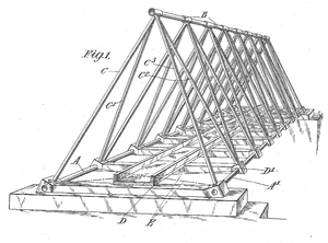 A patent drawing showing a footbridge constructed of triangular trusses