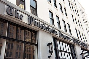 The Philadelphia Inquirer - The sign above the entrance to The Inquirer Building