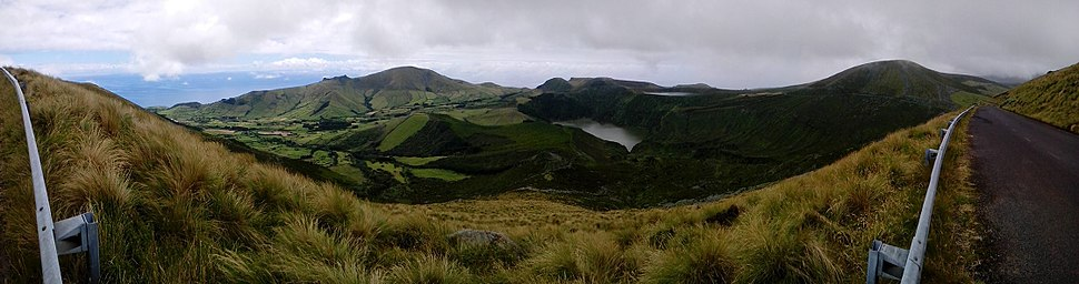 The interior of the island of Flores, showing Lagoa Funda and Lagoa Rasa, in the municipality of Lajes