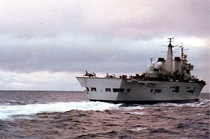 British naval forces in the Falklands War - HMS Invincible in the South Atlantic.